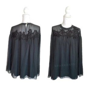 Marchesa Floral Lace Embroidered Black Blouse * S